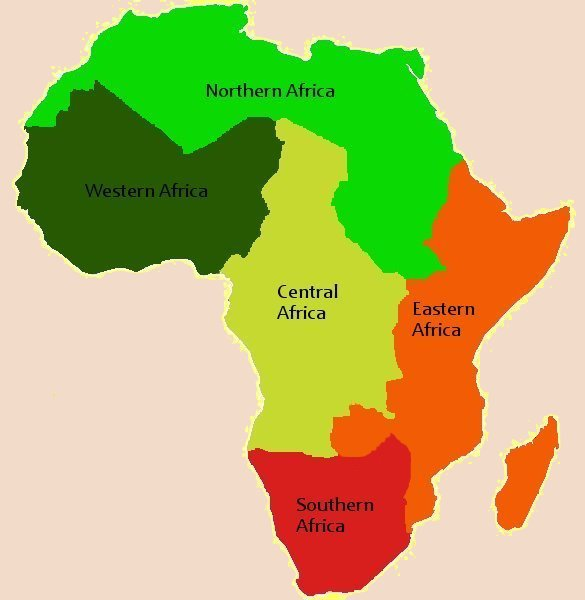 Map Of Africa Regions.5 Regions Of Africa Map Map Of Africa